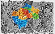 Political 3D Map of Gostivar, desaturated