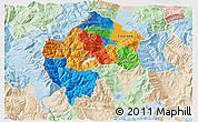 Political 3D Map of Gostivar, lighten