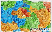 Political 3D Map of Gostivar, political shades outside