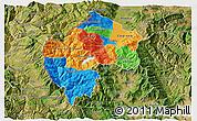 Political 3D Map of Gostivar, satellite outside