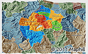 Political 3D Map of Gostivar, semi-desaturated