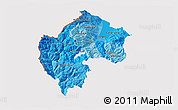 Political Shades 3D Map of Gostivar, cropped outside