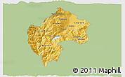 Savanna Style 3D Map of Gostivar, single color outside