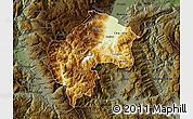 Physical Map of Gostivar, darken