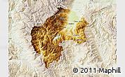 Physical Map of Gostivar, lighten