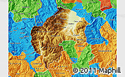 Physical Map of Gostivar, political outside