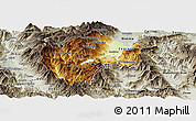 Physical Panoramic Map of Gostivar, semi-desaturated