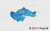 Political Shades Panoramic Map of Gostivar, cropped outside