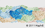 Political Shades Panoramic Map of Gostivar, lighten