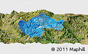 Political Shades Panoramic Map of Gostivar, satellite outside