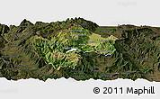 Satellite Panoramic Map of Gostivar, darken