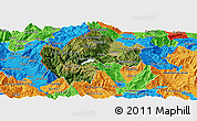 Satellite Panoramic Map of Gostivar, political outside