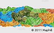 Satellite Panoramic Map of Gostivar, political shades outside