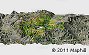 Satellite Panoramic Map of Gostivar, semi-desaturated