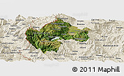 Satellite Panoramic Map of Gostivar, shaded relief outside