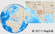 Shaded Relief Location Map of Srbinovo