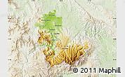 Physical Map of Kavadarci, lighten