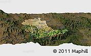 Satellite Panoramic Map of Kavadarci, darken