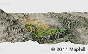 Satellite Panoramic Map of Kavadarci, semi-desaturated