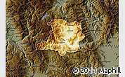 Physical Map of Kicevo, darken