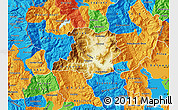 Physical Map of Kicevo, political outside