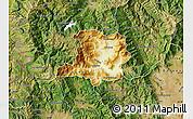 Physical Map of Kicevo, satellite outside