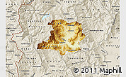 Physical Map of Kicevo, shaded relief outside