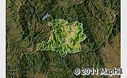 Satellite Map of Kicevo, darken
