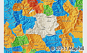 Shaded Relief Map of Kicevo, political outside