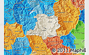 Shaded Relief Map of Kicevo, political shades outside