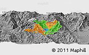 Political Panoramic Map of Kicevo, desaturated