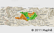 Political Panoramic Map of Kicevo, shaded relief outside