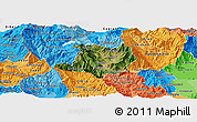 Satellite Panoramic Map of Kicevo, political shades outside