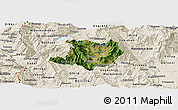 Satellite Panoramic Map of Kicevo, shaded relief outside