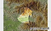 Physical Map of Kocani, darken