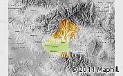 Physical Map of Kocani, desaturated