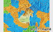 Physical Map of Kocani, political outside