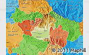 Physical Map of Kocani, political shades outside