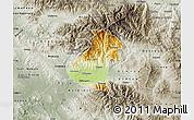 Physical Map of Kocani, semi-desaturated