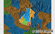 Political Map of Kocani, darken