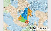 Political Map of Kocani, lighten