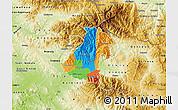 Political Map of Kocani, physical outside