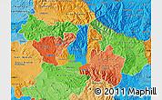 Political Map of Kocani, political shades outside