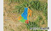 Political Map of Kocani, satellite outside