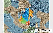 Political Map of Kocani, semi-desaturated