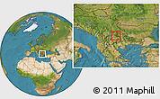 Satellite Location Map of Kriva Palanka