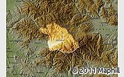 Physical Map of Kriva Palanka, darken