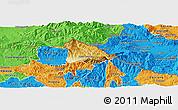 Physical Panoramic Map of Kriva Palanka, political outside