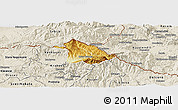Physical Panoramic Map of Kriva Palanka, shaded relief outside