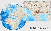 Shaded Relief Location Map of Kumanovo